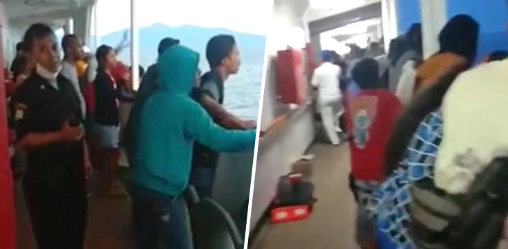 cestujuci vyskakovali z lode